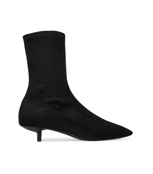 Faux Stretch-suede Sock Boots