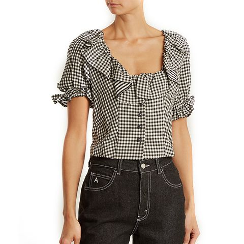 Gingham Ruffle-Trimmed Cropped Top