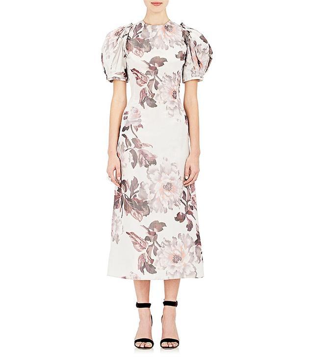 Women's Floral Taffeta Midi-Dress