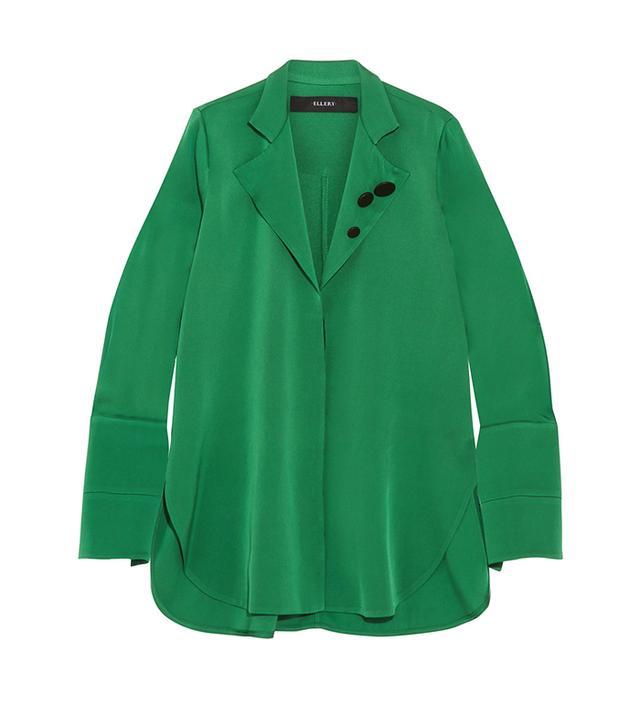 Button-detailed Silk-blend Georgette Shirt