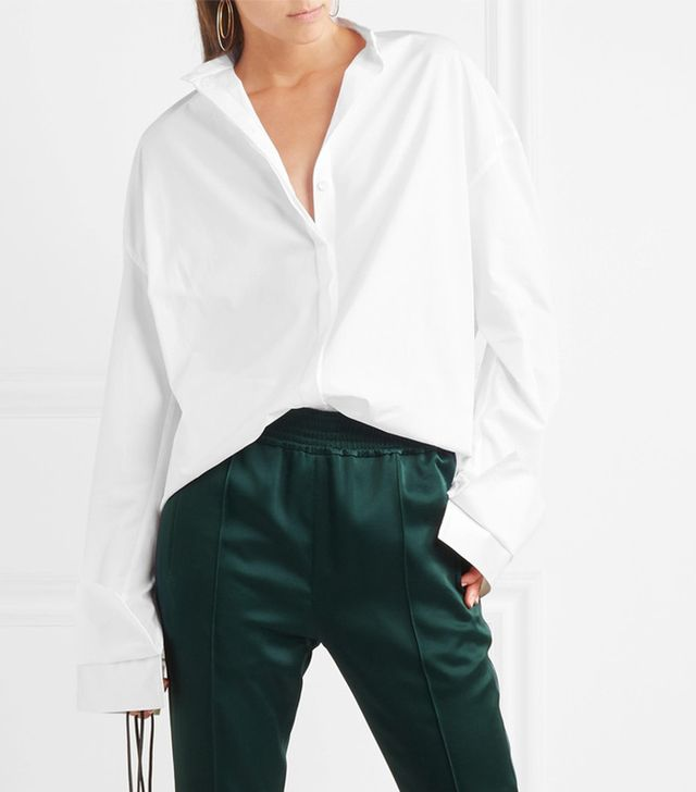 Oversized Satin-trimmed Cotton Shirt