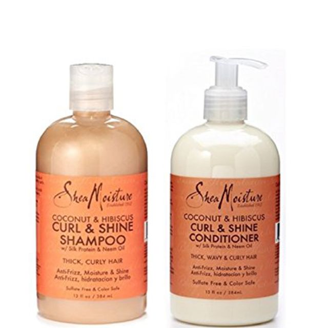 Shea Moisture Coconut & Hibiscus Curl & Shine Shampoo and Conditioner Set W/silk Protein and Neem Oil 13 Oz Bottles
