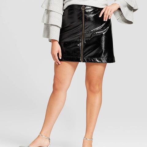 Zip-Front Moto Skirt