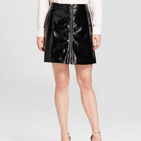 Zip Front Moto Skirt