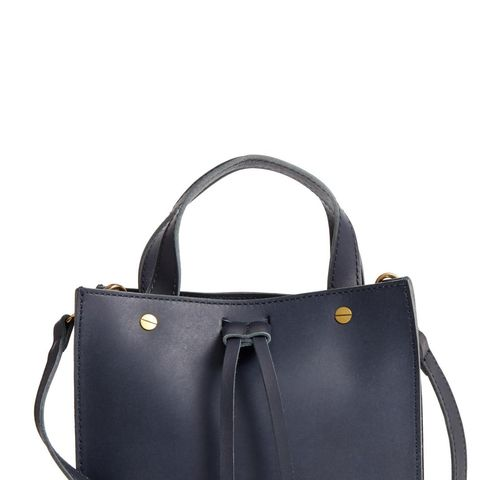 Small Trick Leather Top Handle Tote