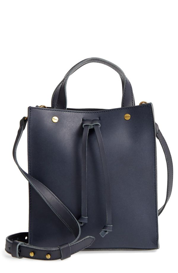 Small Trick Leather Top Handle Tote - Brown