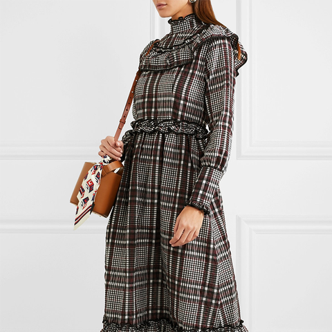 Charron Checked Cotton-Blend Seersucker Midi Dress