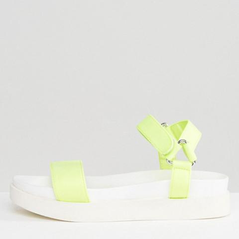 Neon Sports Strap Flatform Sandals
