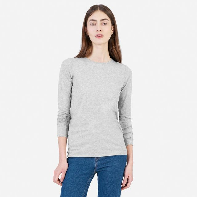 Pima Stretch Long-Sleeve T-Shirt by Everlane in Heather Grey, Size S