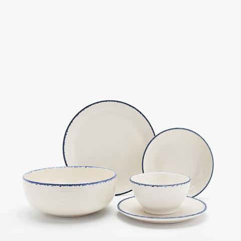Speckled Blue-Rimmed Earthenware Dinner Set