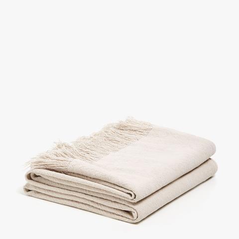 Linen Blanket With Fringe