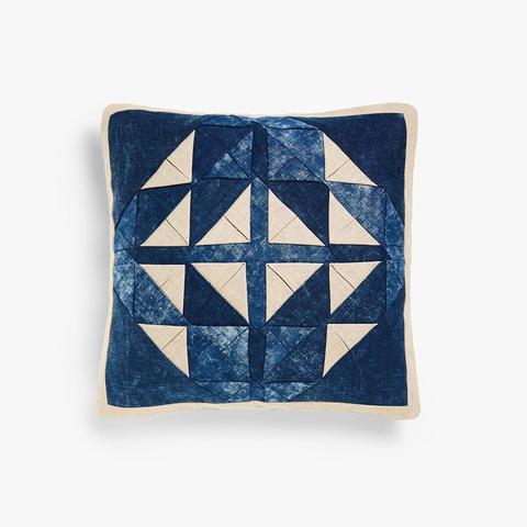 Denim-Effect Cushion Cover