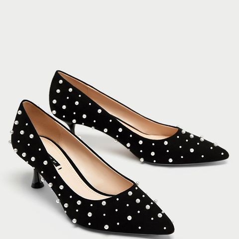 Medium Heel Court Shoes with Faux Pearls