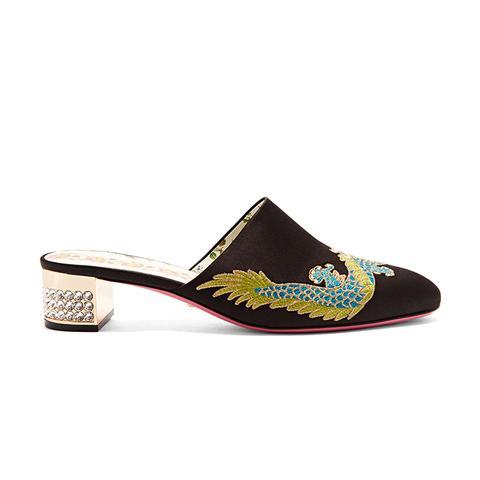 Crystal-Embellished Embroidered Satin Mules