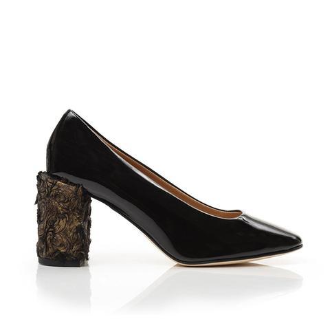 Nina Pumps in Black + Gold