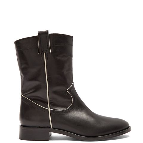 Western Contrast-Piped Leather Boots