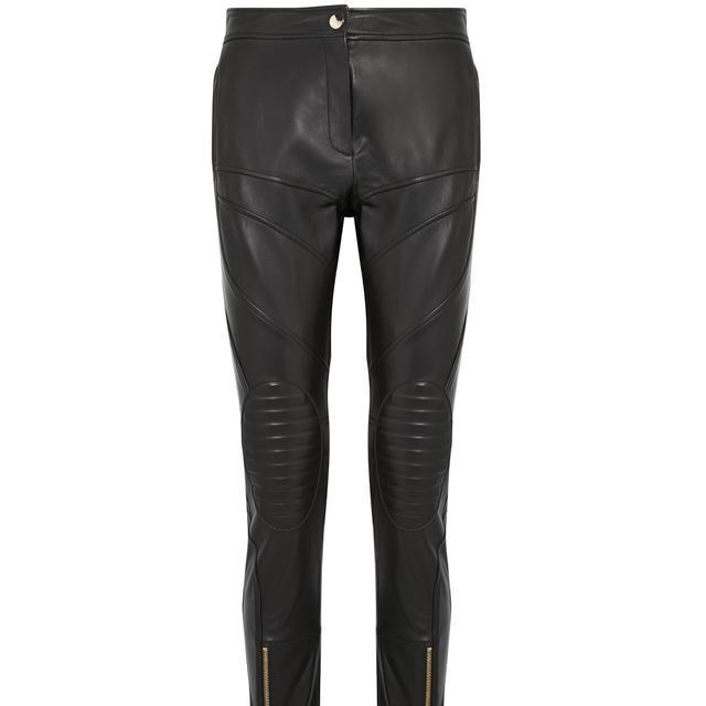 Paneled Leather Slim-leg Pants