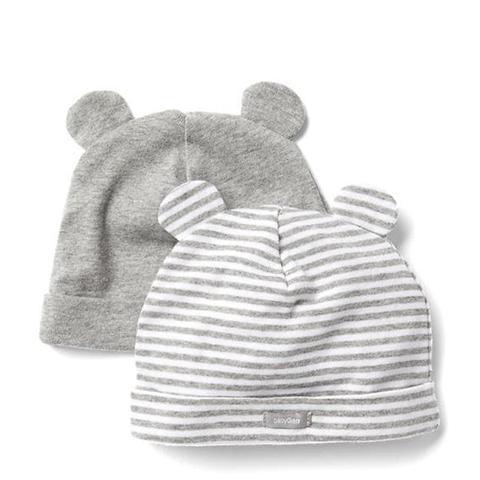 Favorite Stripe Knit Bear Hat 2 Pack