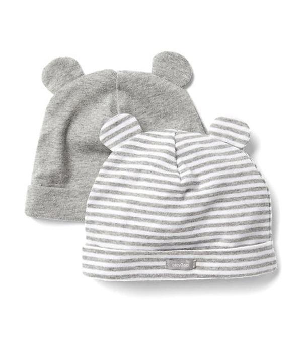 Women Favorite Stripe Knit Bear Hat 2 Pack