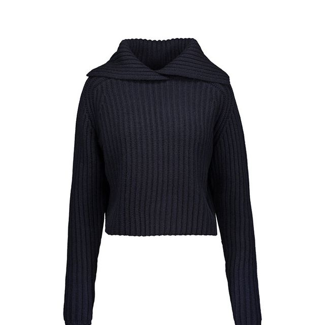 - Perl Ribbed Wool-blend Sweater - Midnight blue