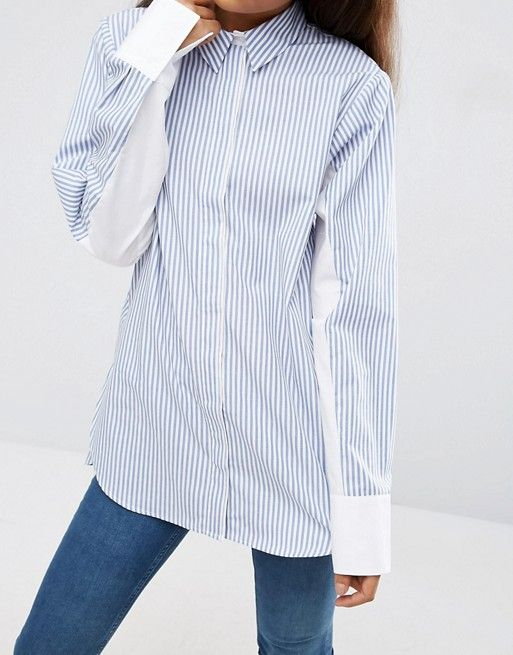 ASOS TALL Oversized Stripe Shirt with Contrast Batwing Sleeve