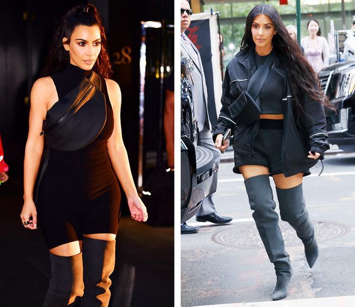 Kim Kardashian outfits: bum bag as a cross body bag
