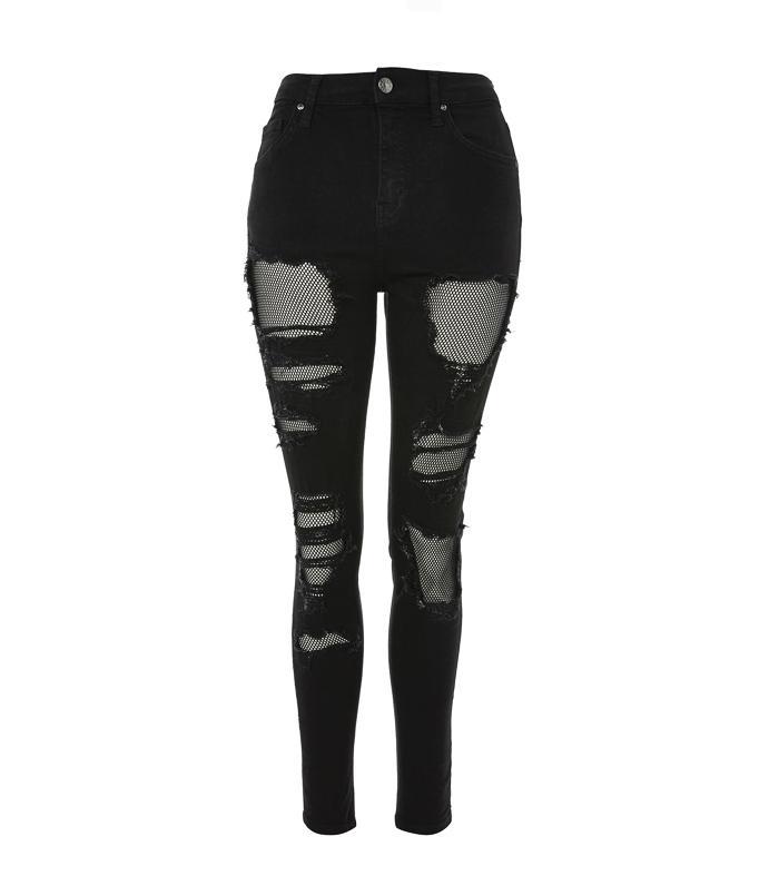 Topshop Polarising Denim Trends: Topshop MOTO Black Fishnet Jamie Jeans