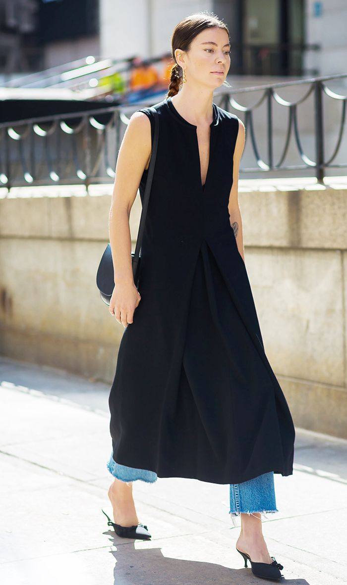 dress over jeans outfit idea
