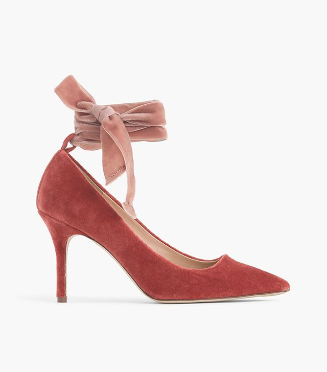 Elsie velvet ankle-wrap pumps