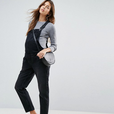 Denim Overall in Washed Black