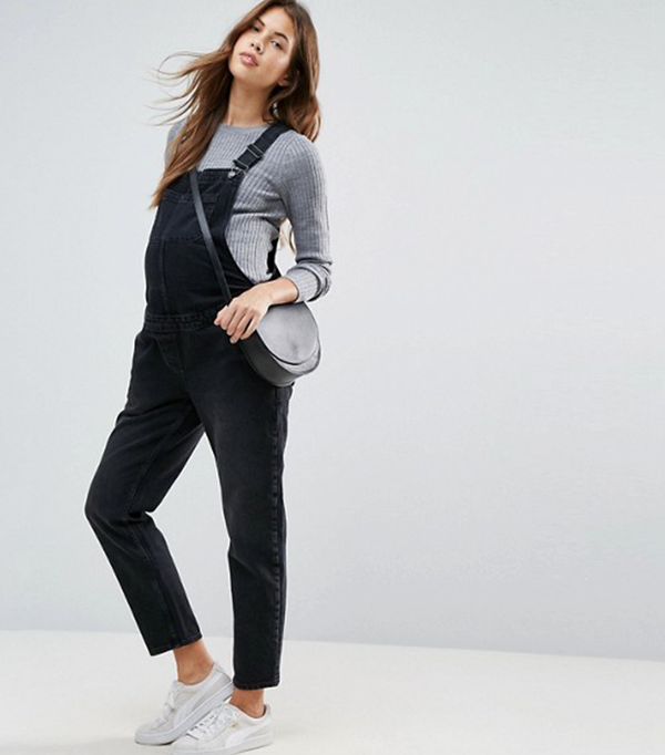 ASOS MATERNITY Denim Overall in Washed Black