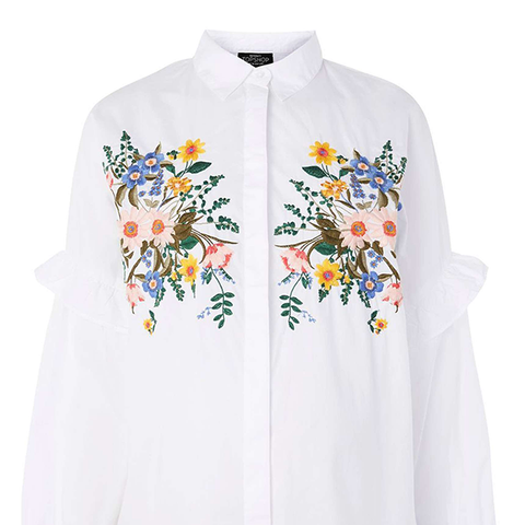 Forest Floral Embroidered Maternity Shirt