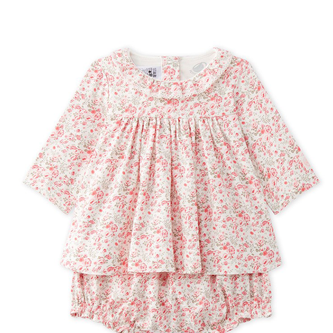 Printed Twill Dress With Bloomers