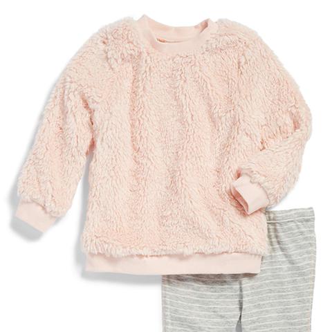 High-Pile Fleece Pullover Sweatshirt & Leggings Set