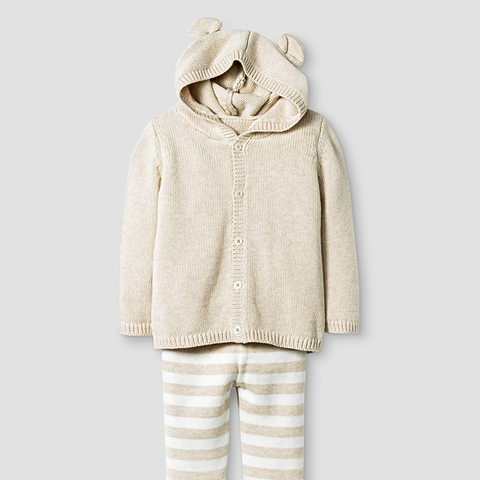 Baby Organic Sweater Hoodie With Ears and Pants Set