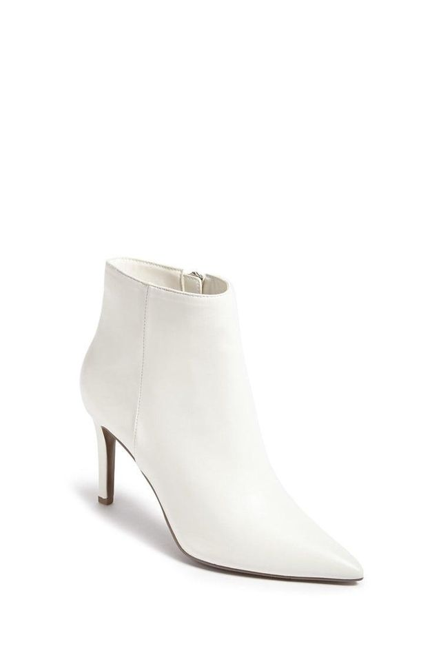 Pointed Faux Leather Ankle Boots