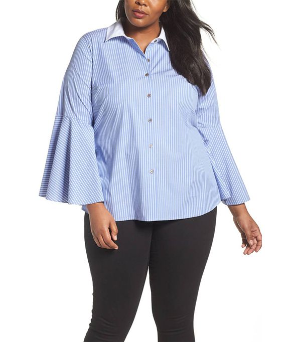 Bell Sleeve Cotton Shirt