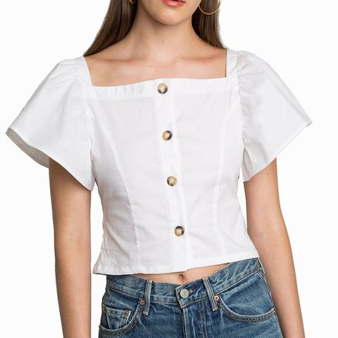 Gia Flutter Sleeve Button Top