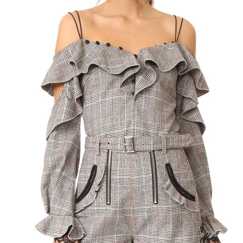 Wool Check Off Shoulder Frill Top