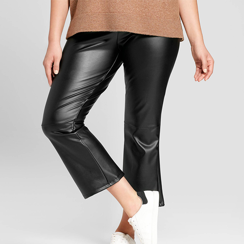Faux Leather Crop Flares