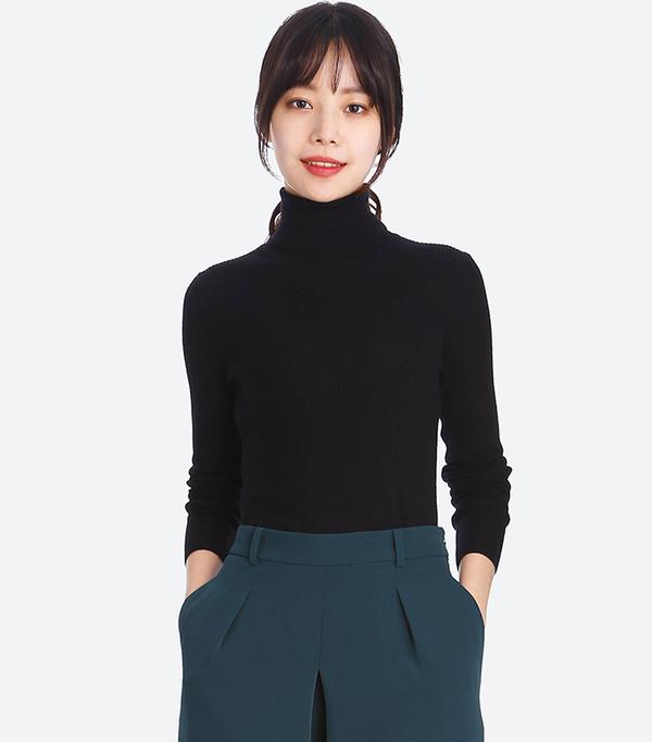 Women's Extra Fine Merino Ribbed Turtleneck Sweater, Off White, XXS