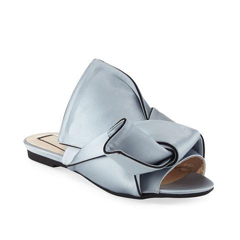 Flat Satin Bow Slide Sandals