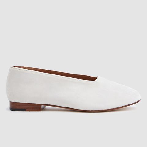 Glove Shoe in White Velvet