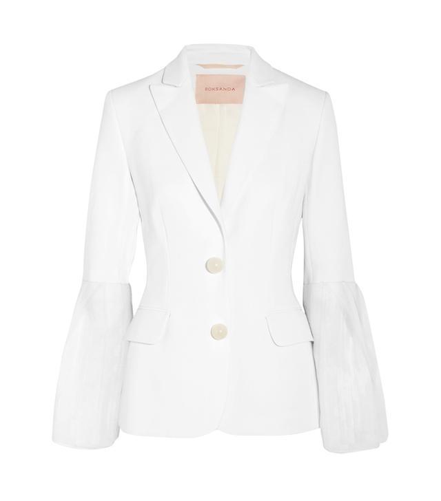 Bridal Jackets: Roksanda Alden Chiffon-Trimmed Silk-Blend Cady Blazer