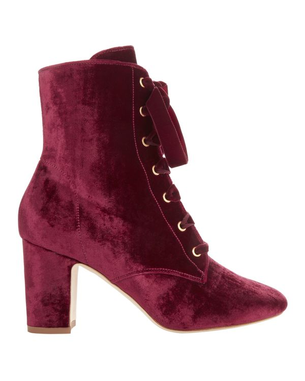 Ally Lace-Up Velvet Booties