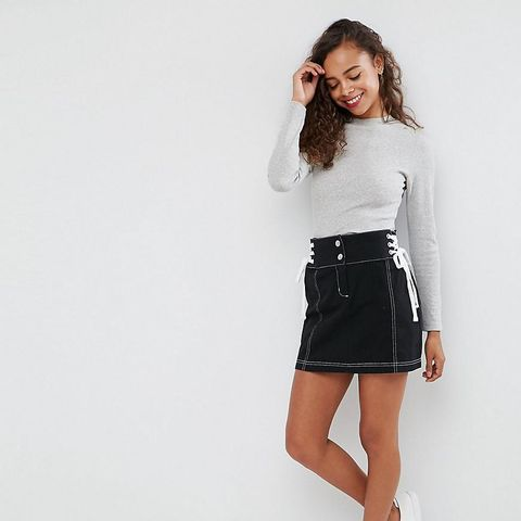 Mini Skirt With Lace-Up Sides