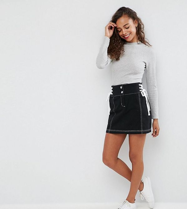 ASOS PETITE Mini Skirt with Lace Up Sides