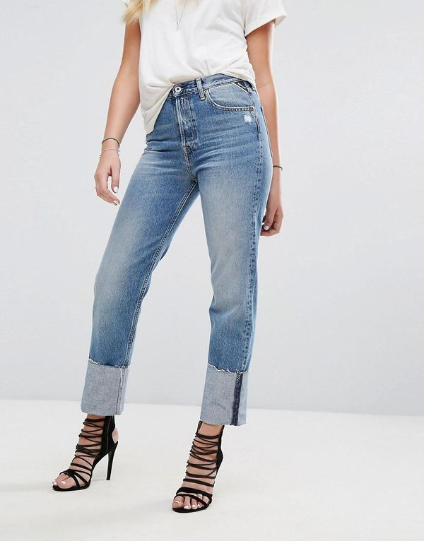 High Waist Jean with Extended Hem Detail