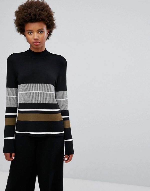 Stripe High Neck Sweater