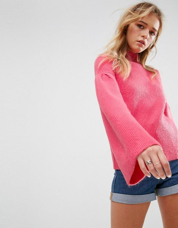 Sweater in Rib with High Neck and Flared Sleeves